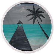 Tahitian Blue Round Beach Towel