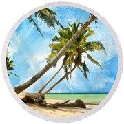 Tahitian Idyll Round Beach Towel