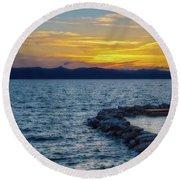 Tahoe Sunset Round Beach Towel