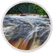 Tahquamenon Lower Falls Upper Peninsula Michigan Vertical 01 Round Beach Towel