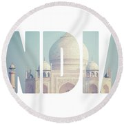 Taj Mahal , A Famous Historical Monument, A Monument Of Love, The Greatest White Marble Tomb In India, Agra, Uttar Pradesh  Round Beach Towel