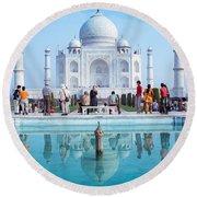 Taj Mahal  Round Beach Towel by Nila Newsom