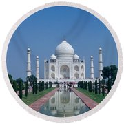 Taj Mahal View Round Beach Towel