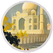 Taj Mahal Visit India Vintage Travel Poster Restored Round Beach Towel