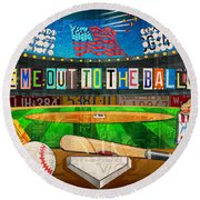 Take Me Out To The Ballgame Recycled Vintage License Plate Art Collage Round Beach Towel