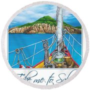 Take Me To Saba Round Beach Towel