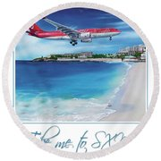 Take Me To Sxm- Poster Round Beach Towel