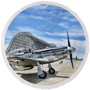 Take Off P-51 Mustang  Round Beach Towel