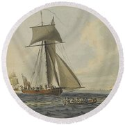 Taking Crew To An English Frigate Near The Needles Isle Of Wight By Robert Cleveley Round Beach Towel