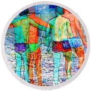 Taking The Plunge Together Round Beach Towel