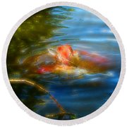Tale Of The Wild Koi 2  Round Beach Towel