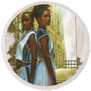 Tale Of Two Sister Round Beach Towel