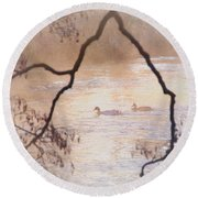 Tales From The Riverbank  Iv Round Beach Towel