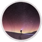 Talking To The Stars Round Beach Towel