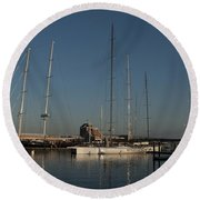 Tall Boats In The Morning Round Beach Towel