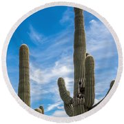 Tall Cacti Round Beach Towel