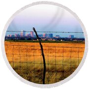 Tall City Morning Round Beach Towel