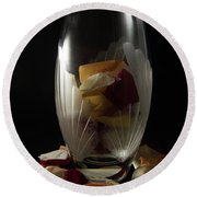 Tall Crystal Vase With Rose Petals Round Beach Towel