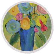 Tall Floral Order Round Beach Towel