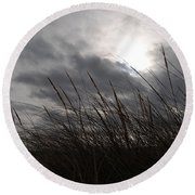 Tall Grass And The Blues Round Beach Towel
