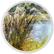 Tall Grasses Round Beach Towel