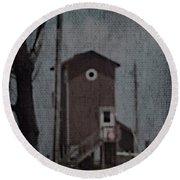 Tall Little Stilt House 3 Round Beach Towel