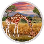 Tall Love From Above Round Beach Towel