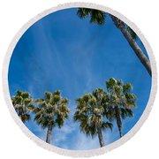 Tall Palms Meet The Sky Round Beach Towel