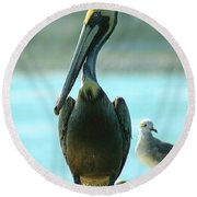 Tall Pelican Round Beach Towel