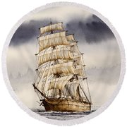 Tall Ship Adventure Round Beach Towel