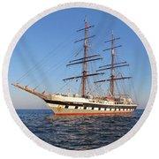 Tall Ship Anchored Off Penzance Round Beach Towel