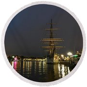 Tall Ship Docked At The Baltimore Inner Harbor Round Beach Towel