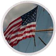 Tall Ship Flag I Round Beach Towel