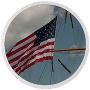 Tall Ship Flag IIi Round Beach Towel