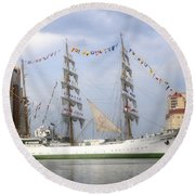 Tall Ship In Tampa Bay Round Beach Towel