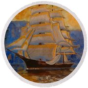 Tall Ship In The Sunset Round Beach Towel