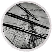 Tall Ship Mast V3 Round Beach Towel