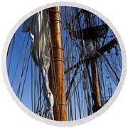 Tall Ship Rigging Lady Washington Round Beach Towel