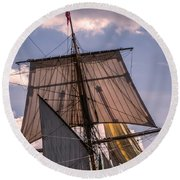 Tall Ship Sails 6 Round Beach Towel