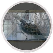 Tall Ship Through A Window Round Beach Towel
