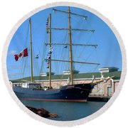 Tall Ship Waiting Round Beach Towel