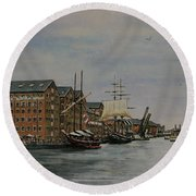 Tall Ships At Gloucester Docks Round Beach Towel