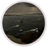 Tall Ships Heavy Rain And Wind In Sydney Harbour Round Beach Towel