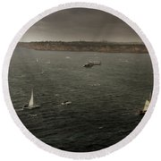Tall Ships In The Entrance Of Sydney Harbour Round Beach Towel