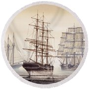 Tall Ships Round Beach Towel by James Williamson