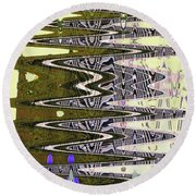 Tall Tempe Building Abstract Round Beach Towel