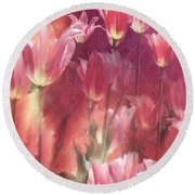 Tall Tulips Round Beach Towel