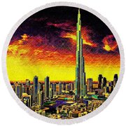Tallest Building In The World Round Beach Towel