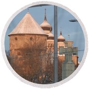 Tallin Towers At Sunrise Round Beach Towel