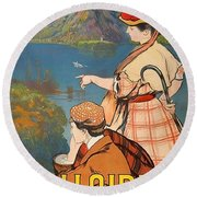 Talloires, France, Paris Lyon Mediterranean Round Beach Towel